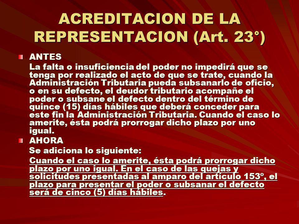 ACREDITACION DE LA REPRESENTACION (Art. 23°)