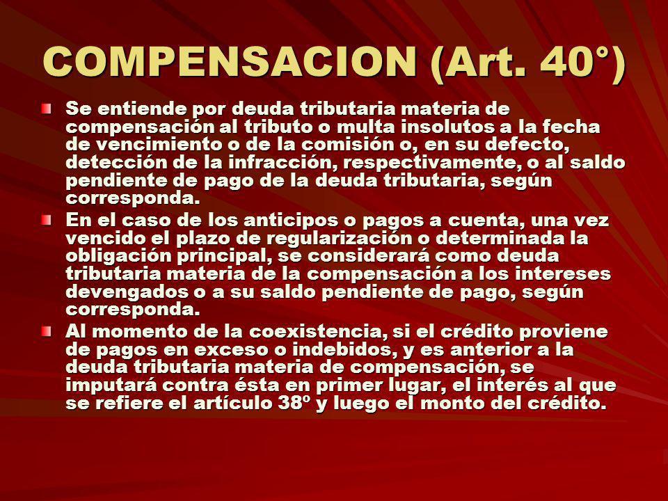 COMPENSACION (Art. 40°)