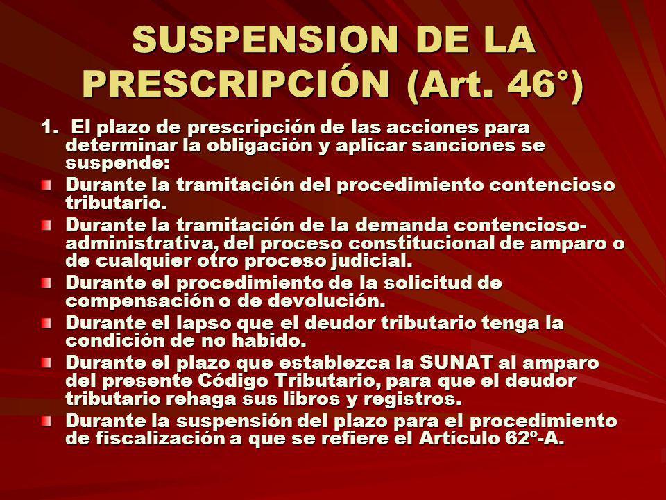 SUSPENSION DE LA PRESCRIPCIÓN (Art. 46°)