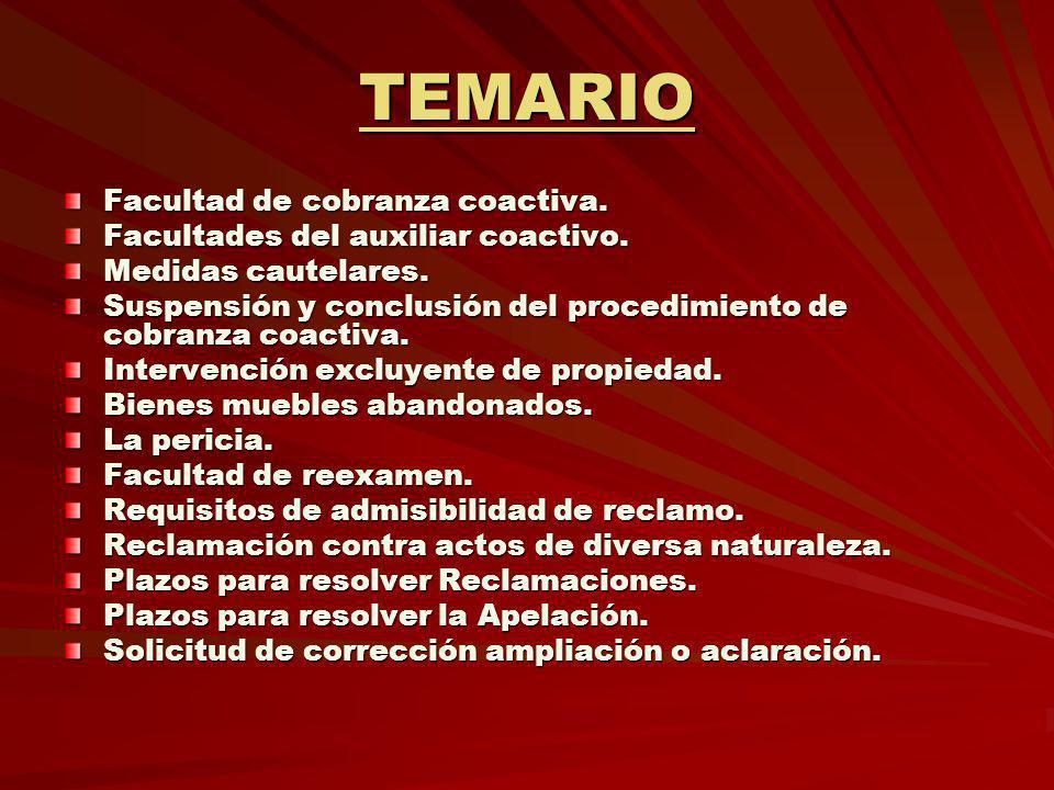 TEMARIO Facultad de cobranza coactiva.