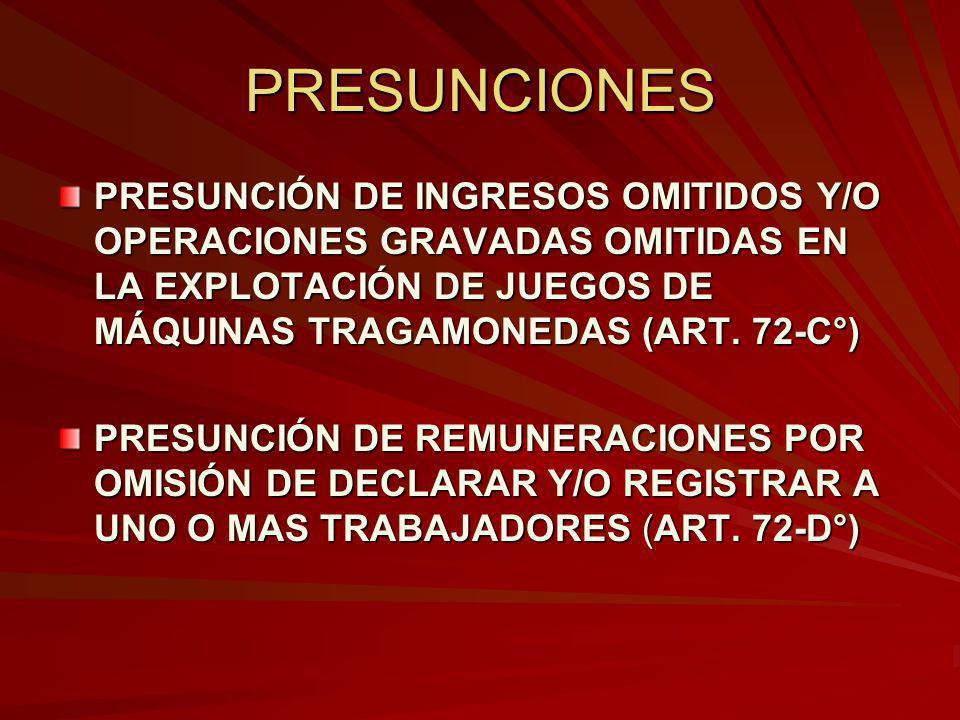 PRESUNCIONES PRESUNCIÓN DE INGRESOS OMITIDOS Y/O OPERACIONES GRAVADAS OMITIDAS EN LA EXPLOTACIÓN DE JUEGOS DE MÁQUINAS TRAGAMONEDAS (ART. 72-C°)