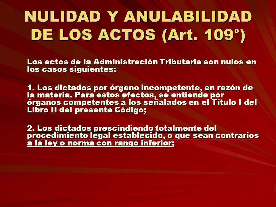 NULIDAD Y ANULABILIDAD DE LOS ACTOS (Art. 109°)