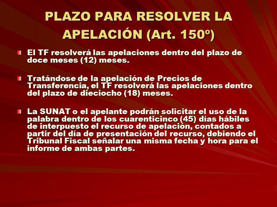 PLAZO PARA RESOLVER LA APELACIÓN (Art. 150º)