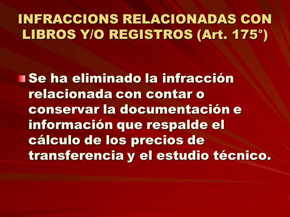 INFRACCIONS RELACIONADAS CON LIBROS Y/O REGISTROS (Art. 175°)