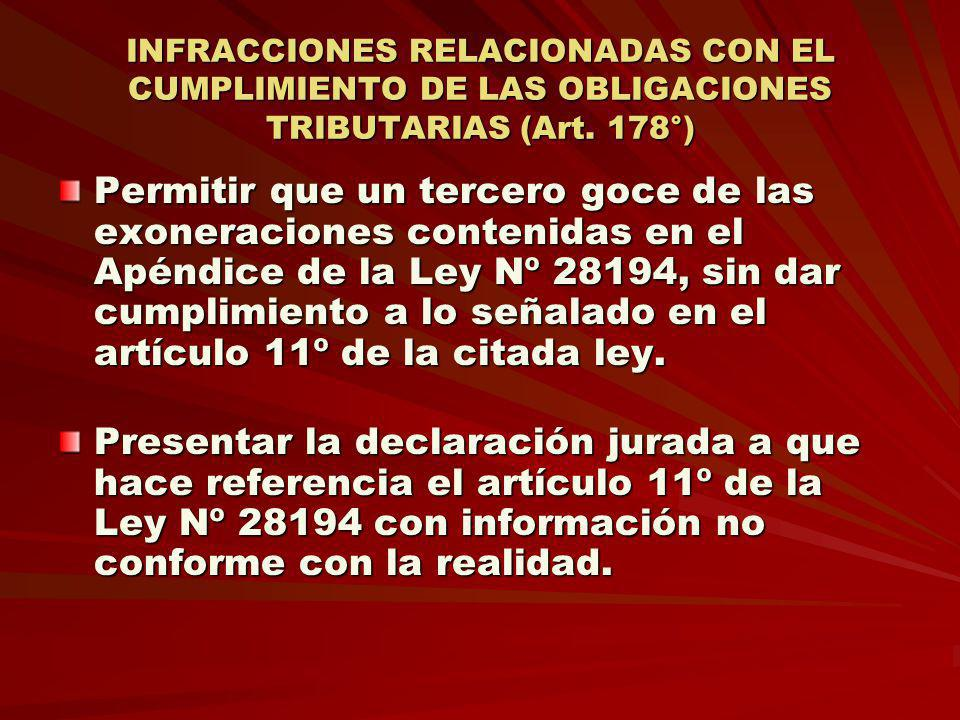 INFRACCIONES RELACIONADAS CON EL CUMPLIMIENTO DE LAS OBLIGACIONES TRIBUTARIAS (Art. 178°)