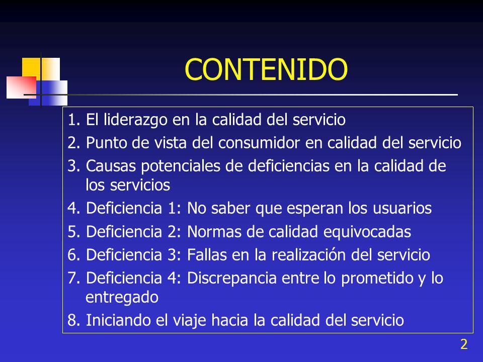 CONTENIDO 1. El liderazgo en la calidad del servicio