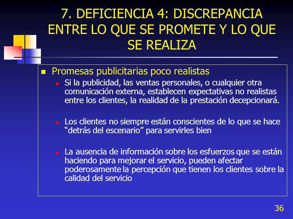 7. DEFICIENCIA 4: DISCREPANCIA ENTRE LO QUE SE PROMETE Y LO QUE SE REALIZA