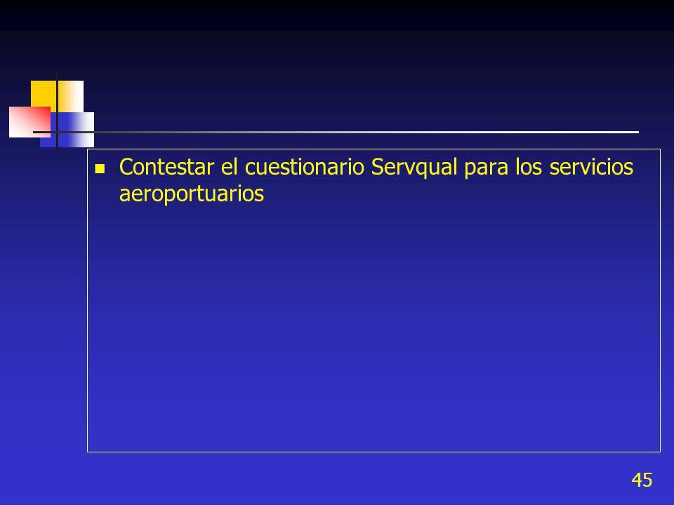 Contestar el cuestionario Servqual para los servicios aeroportuarios