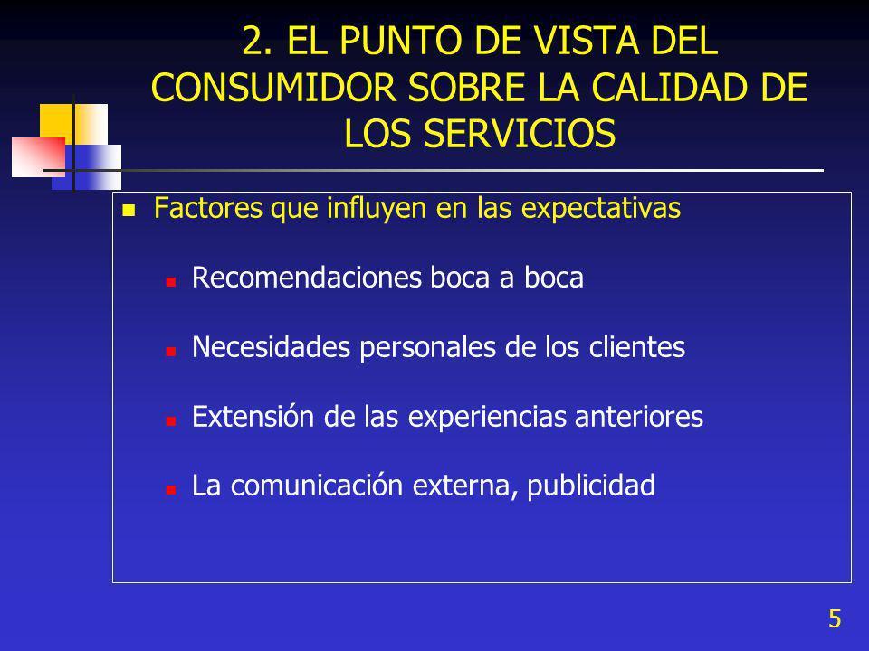 2. EL PUNTO DE VISTA DEL CONSUMIDOR SOBRE LA CALIDAD DE LOS SERVICIOS
