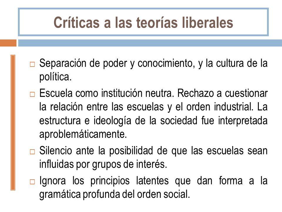 Críticas a las teorías liberales