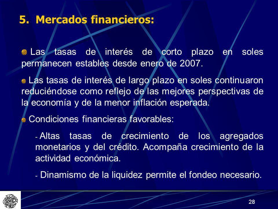 5. Mercados financieros: