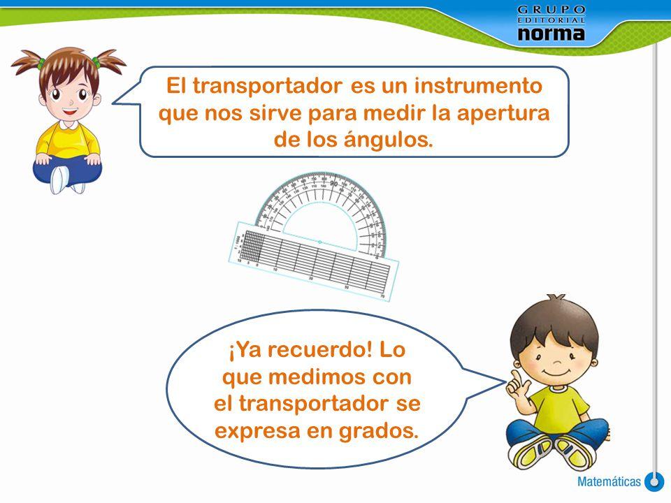 El transportador es un instrumento que nos sirve para medir la apertura de los ángulos.