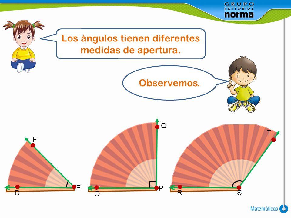 Los ángulos tienen diferentes medidas de apertura.