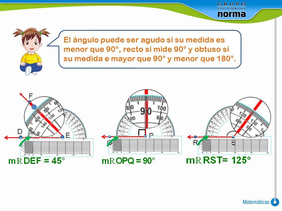 El ángulo puede ser agudo si su medida es menor que 90°, recto si mide 90° y obtuso si su medida e mayor que 90° y menor que 180°.