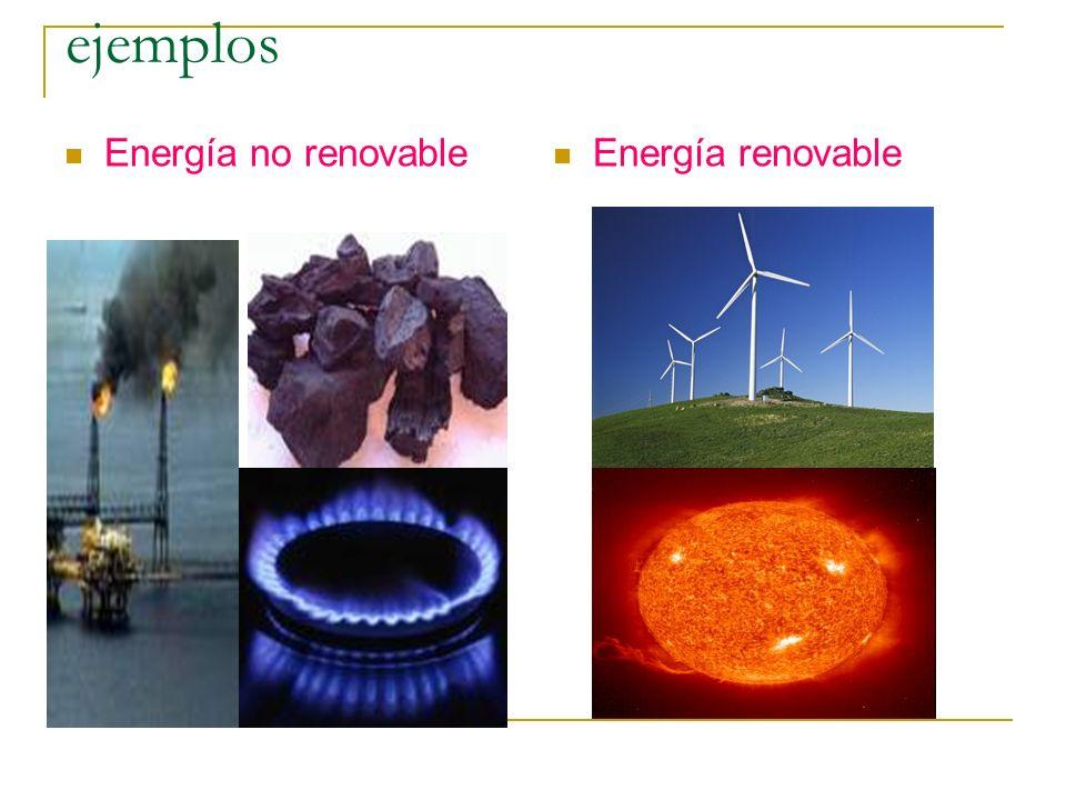 ejemplos Energía no renovable Energía renovable