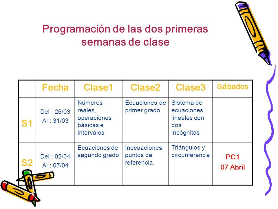 Programación de las dos primeras semanas de clase