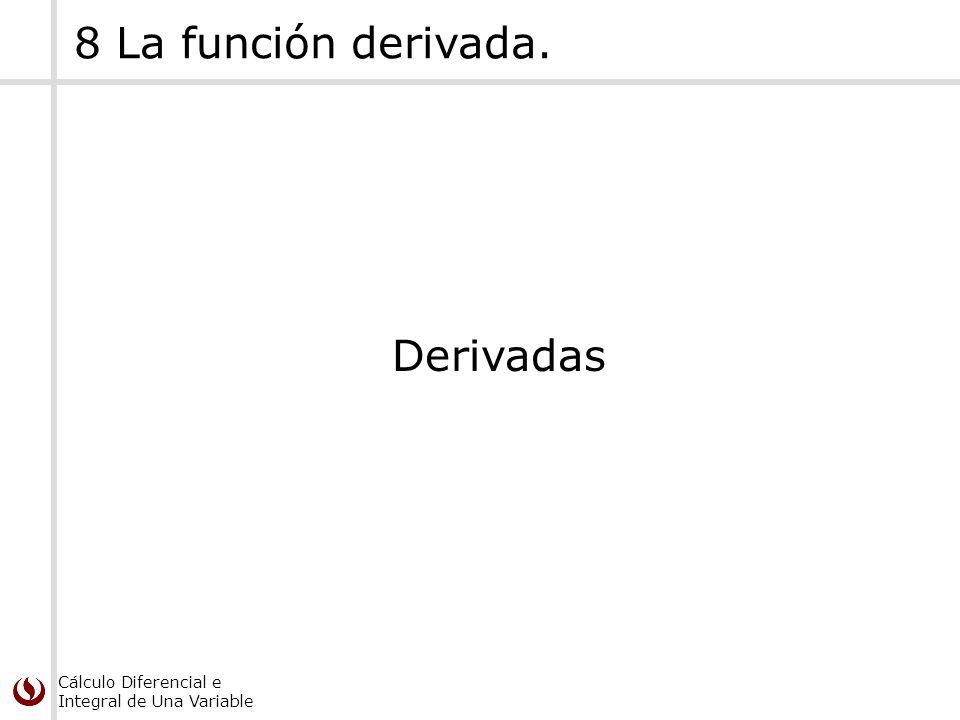 8 La función derivada. Derivadas
