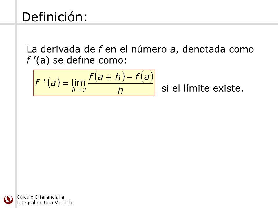 Definición: La derivada de f en el número a, denotada como f '(a) se define como: si el límite existe.