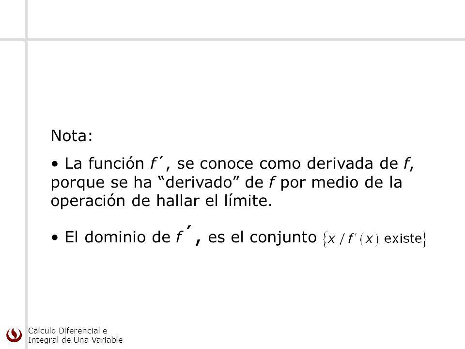 Nota: La función f´, se conoce como derivada de f, porque se ha derivado de f por medio de la operación de hallar el límite.