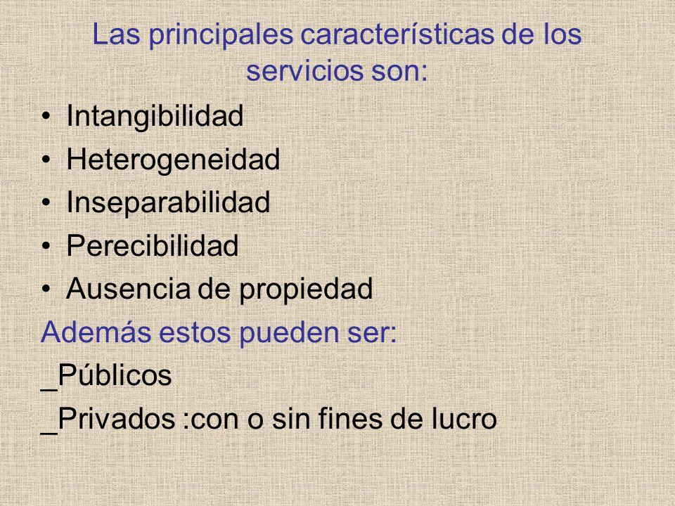 Las principales características de los servicios son: