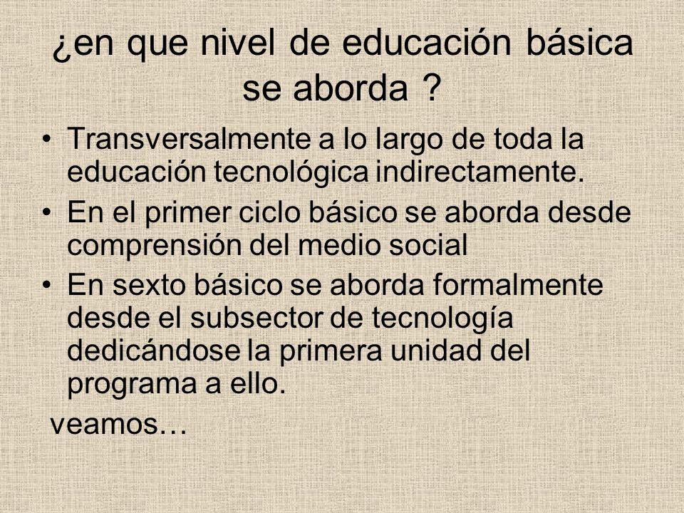 ¿en que nivel de educación básica se aborda