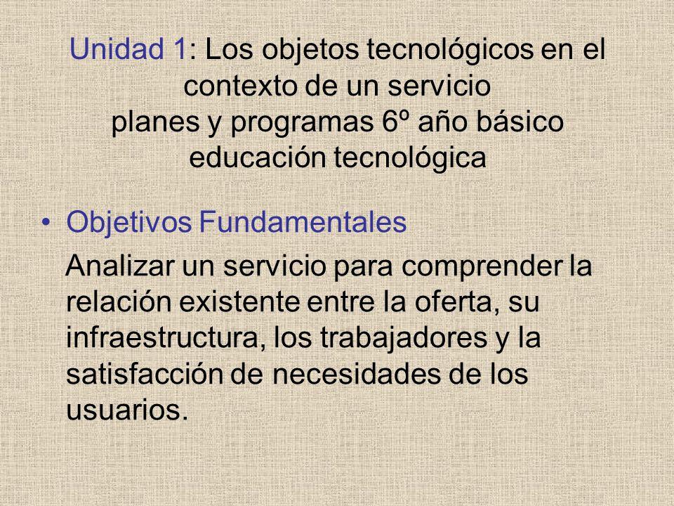 Unidad 1: Los objetos tecnológicos en el contexto de un servicio planes y programas 6º año básico educación tecnológica