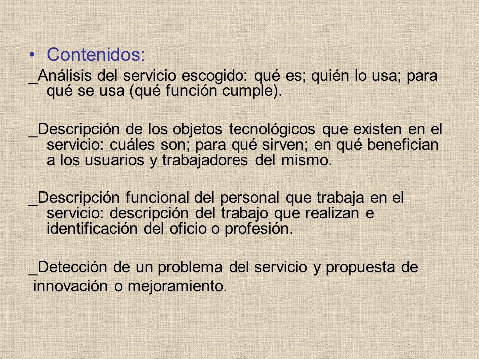 Contenidos: _Análisis del servicio escogido: qué es; quién lo usa; para qué se usa (qué función cumple).