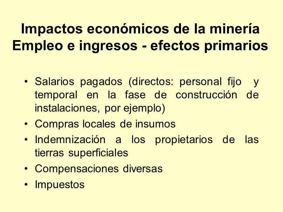 Impactos económicos de la minería Empleo e ingresos - efectos primarios