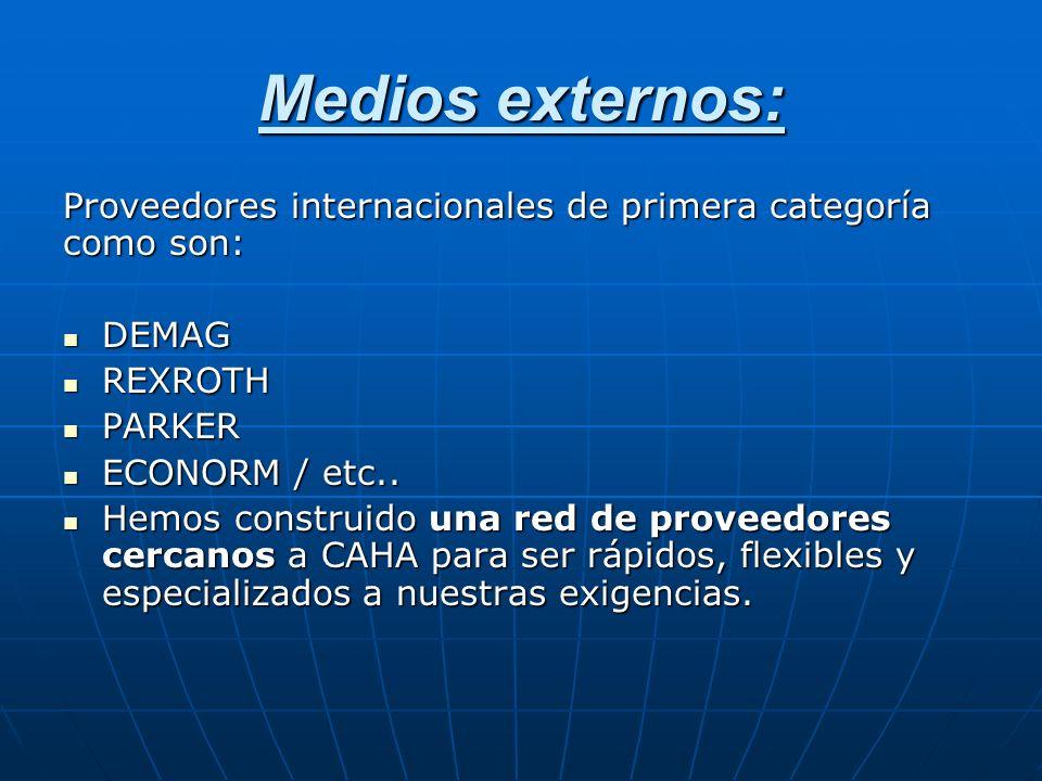 Medios externos: Proveedores internacionales de primera categoría como son: DEMAG. REXROTH. PARKER.