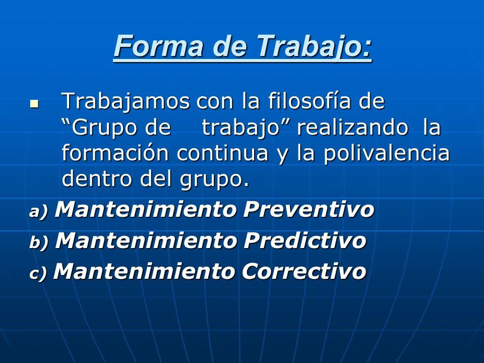 Forma de Trabajo:Trabajamos con la filosofía de Grupo de trabajo realizando la formación continua y la polivalencia dentro del grupo.