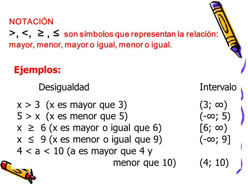 >, <, ≥ , ≤ son símbolos que representan la relación: