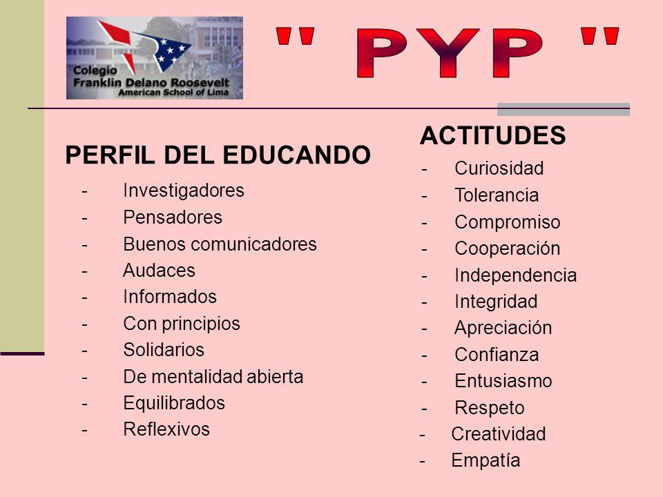 PYP ACTITUDES PERFIL DEL EDUCANDO - Investigadores - Curiosidad