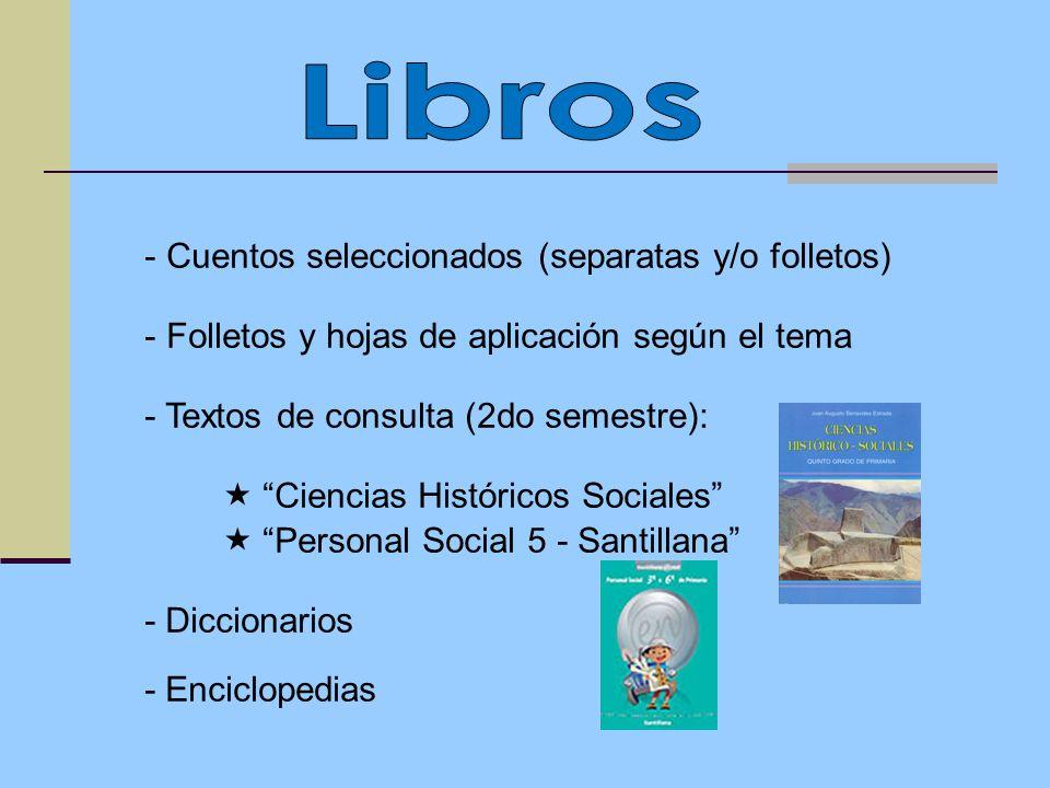 Libros Cuentos seleccionados (separatas y/o folletos)