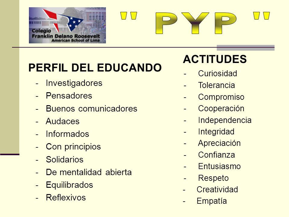 PYP ACTITUDES PERFIL DEL EDUCANDO - Investigadores - Pensadores