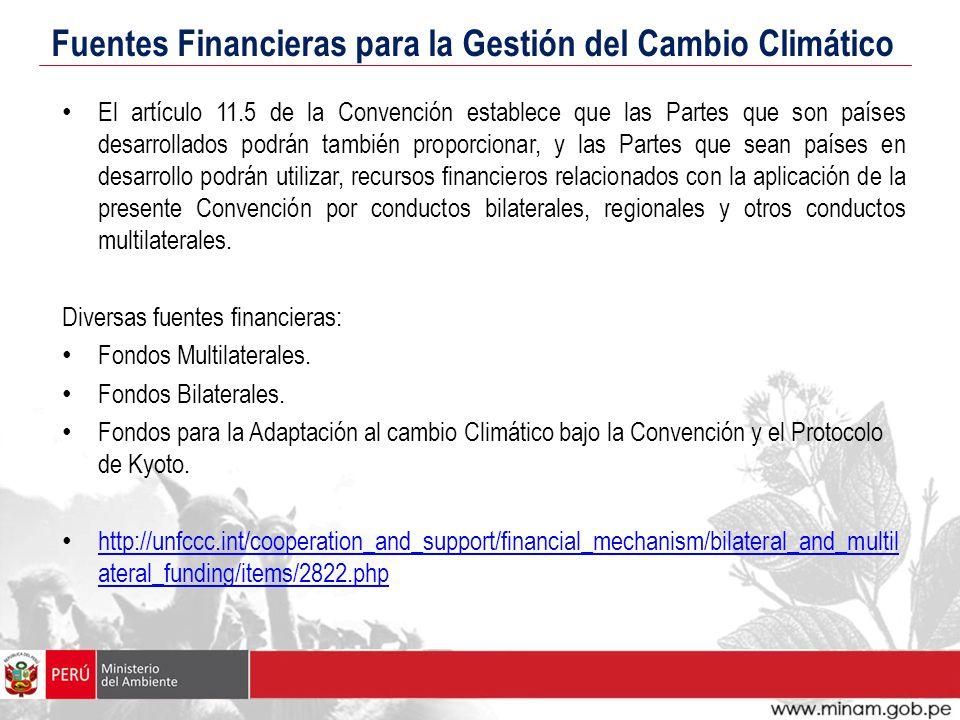 Fuentes Financieras para la Gestión del Cambio Climático