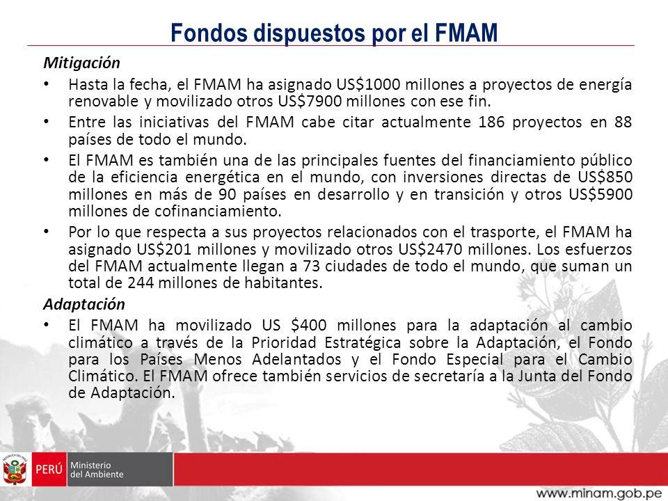 Fondos dispuestos por el FMAM