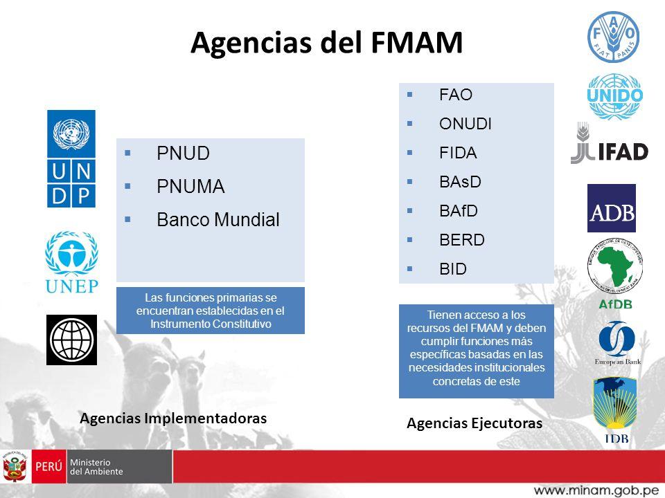 Agencias del FMAM PNUD PNUMA Banco Mundial FAO ONUDI FIDA BAsD BAfD