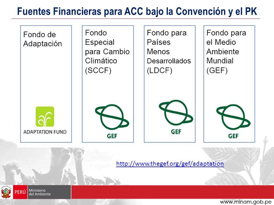 Fuentes Financieras para ACC bajo la Convención y el PK