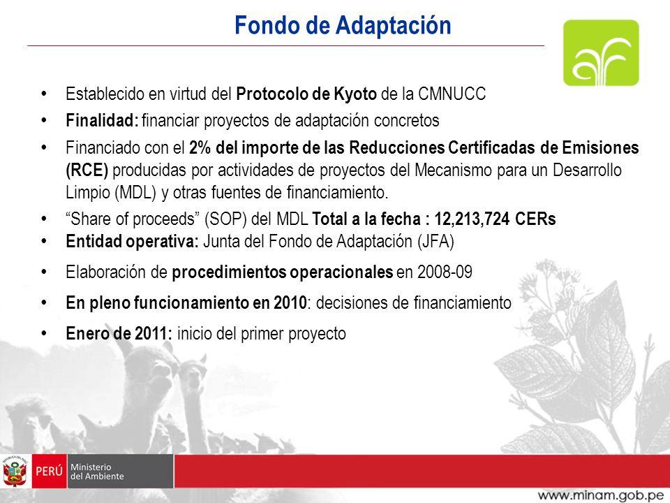 Fondo de Adaptación Establecido en virtud del Protocolo de Kyoto de la CMNUCC. Finalidad: financiar proyectos de adaptación concretos.