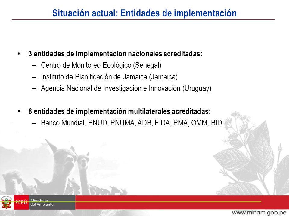 Situación actual: Entidades de implementación