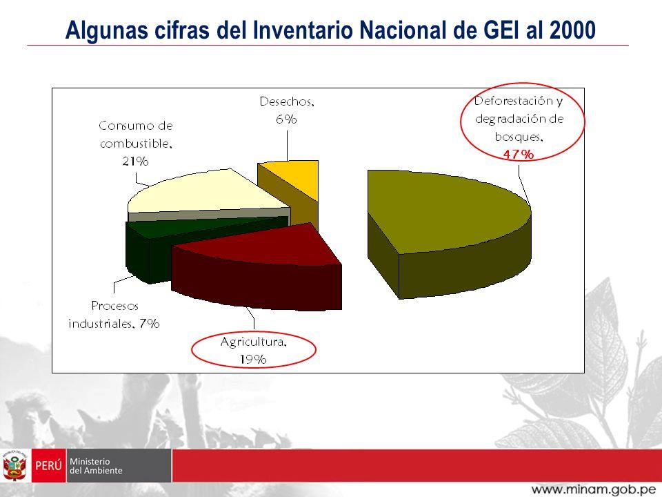 Algunas cifras del Inventario Nacional de GEI al 2000