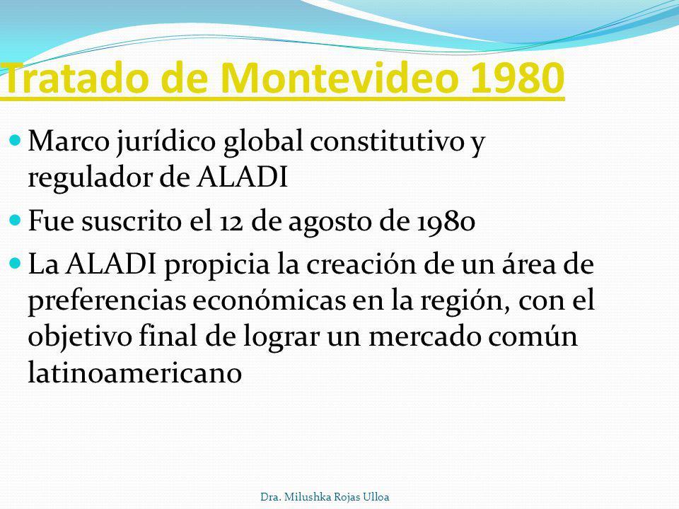 Tratado de Montevideo 1980 Marco jurídico global constitutivo y regulador de ALADI. Fue suscrito el 12 de agosto de 1980.
