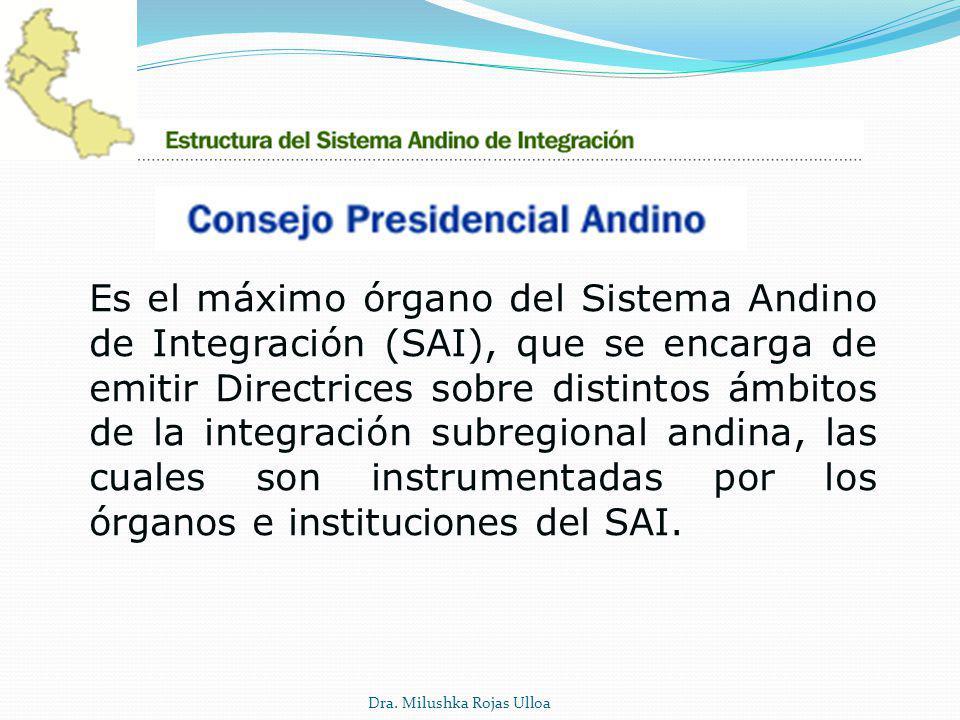 Es el máximo órgano del Sistema Andino de Integración (SAI), que se encarga de emitir Directrices sobre distintos ámbitos de la integración subregional andina, las cuales son instrumentadas por los órganos e instituciones del SAI.