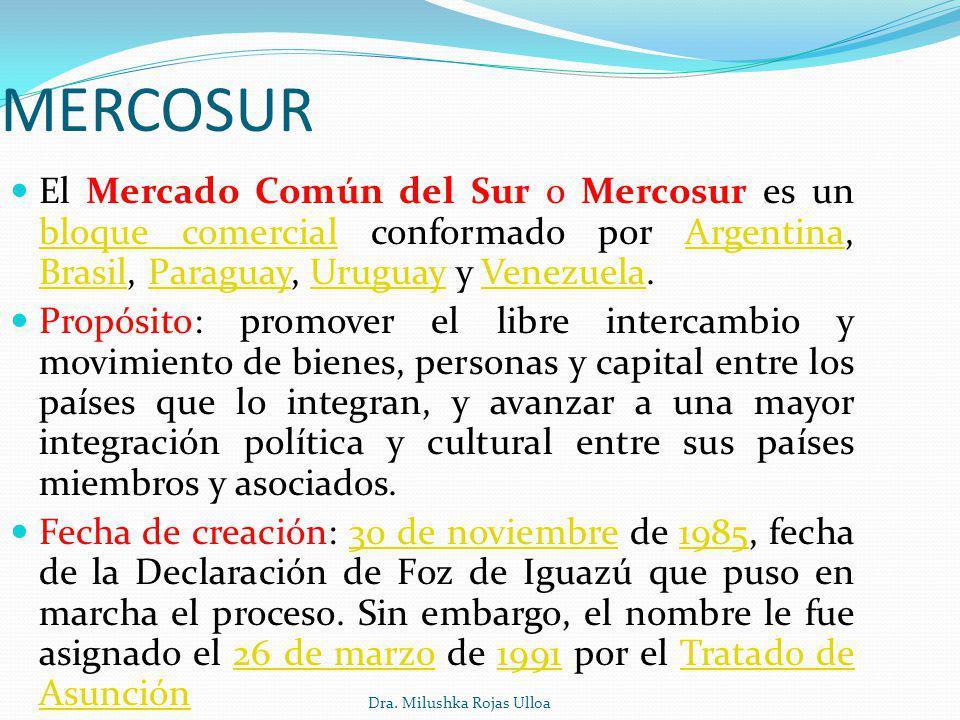 MERCOSUR El Mercado Común del Sur o Mercosur es un bloque comercial conformado por Argentina, Brasil, Paraguay, Uruguay y Venezuela.