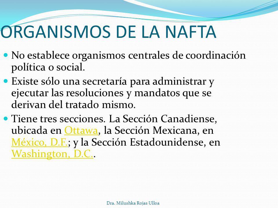 ORGANISMOS DE LA NAFTA No establece organismos centrales de coordinación política o social.