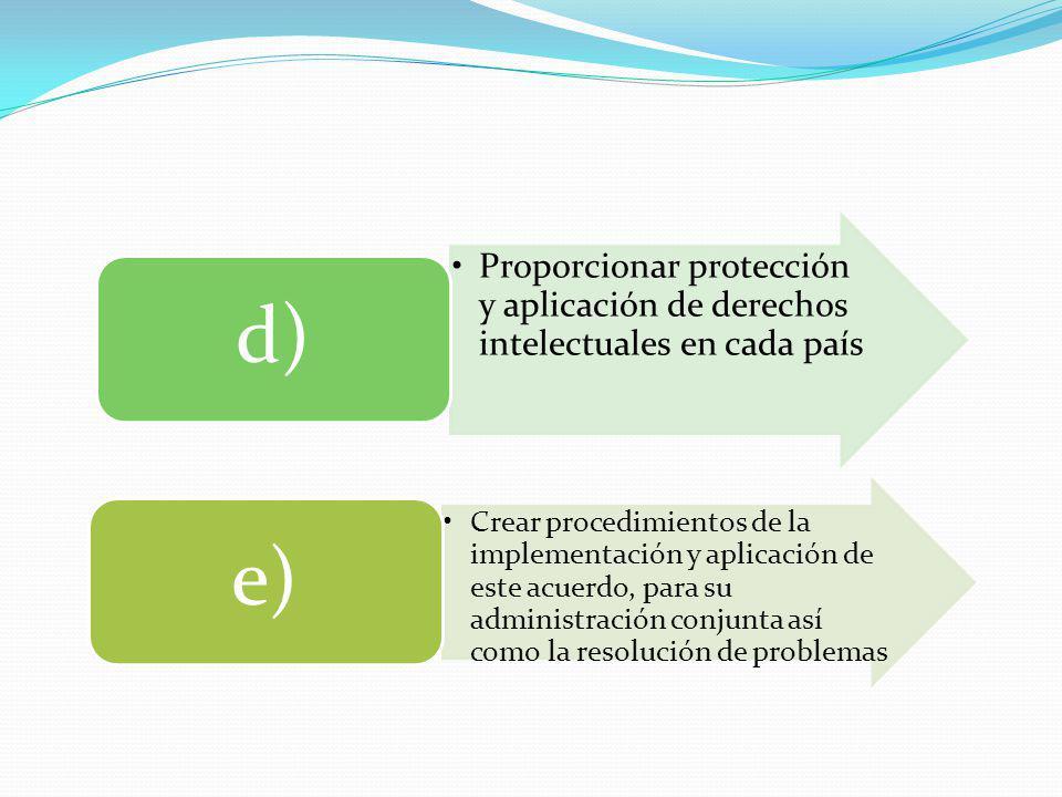 d) Proporcionar protección y aplicación de derechos intelectuales en cada país. e)