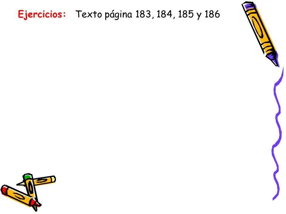 Ejercicios: Texto página 183, 184, 185 y 186