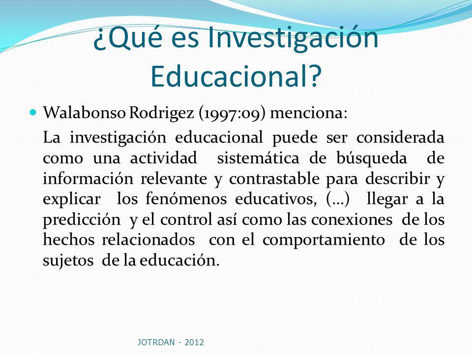 ¿Qué es Investigación Educacional