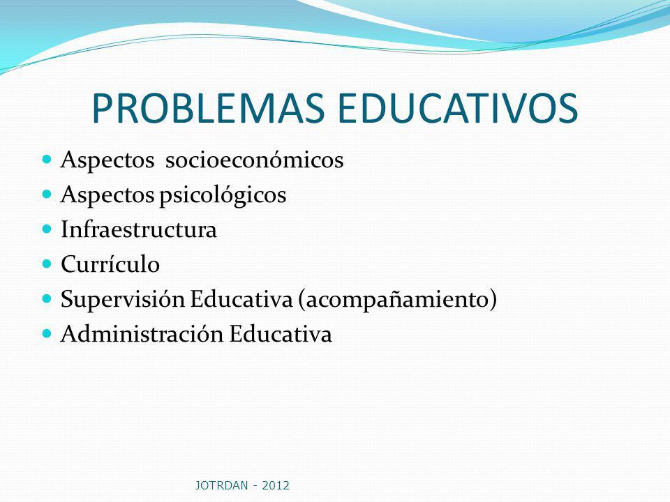PROBLEMAS EDUCATIVOS Aspectos socioeconómicos Aspectos psicológicos
