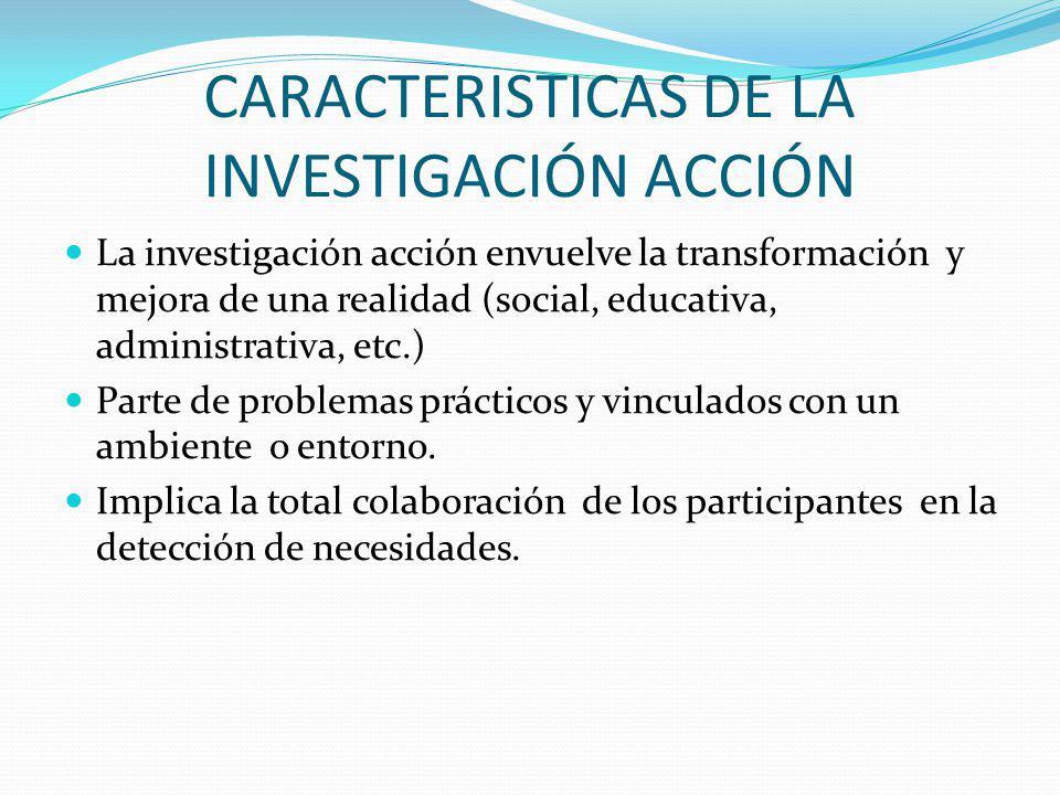 CARACTERISTICAS DE LA INVESTIGACIÓN ACCIÓN